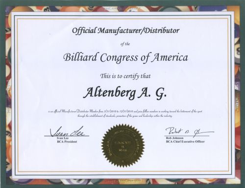сертификат Billiard  Congress of America